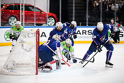 Nik Pem of Slovenia vs Cristobal Huet of France and Antonin Manavian of France during the 2017 IIHF Men's World Championship group B Ice hockey match between National Teams of France and Slovenia, on May 15, 2017 in AccorHotels Arena in Paris, France. Photo by Vid Ponikvar / Sportida