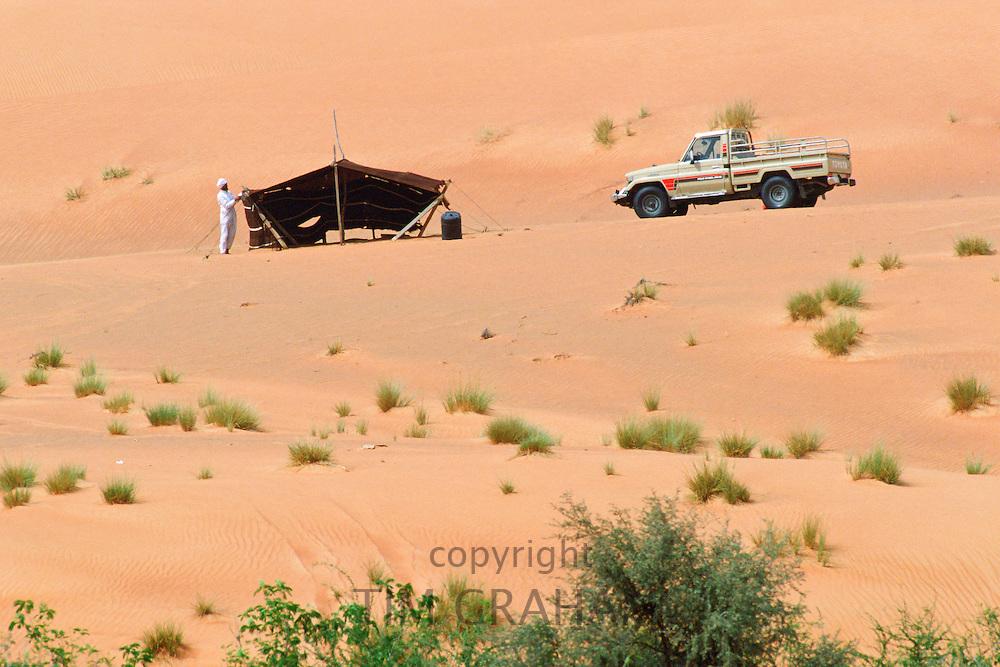 Man with tented dwelling at Al Ain, Abu Dhabi