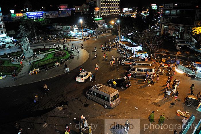 Overhead view of central Da Lat at night. Da Lat, Vietnam