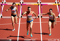 Netherland's Nadine Visser (centre) on the way to finishing second in the Women's 100m hurdles heats during day eight of the 2017 IAAF World Championships at the London Stadium. PRESS ASSOCIATION Photo. Picture date: Friday August 11, 2017. See PA story ATHLETICS World. Photo credit should read: Jonathan Brady/PA Wire. RESTRICTIONS: Editorial use only. No transmission of sound or moving images and no video simulation.
