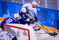 GANGNEUNG, SOUTH KOREA - FEBRUARY 14:  defenseman Blaz Gregorc #15 of Slovenia, forward Brian Gionta #12 of the United States, forward Jordan Greenway #18 of the United States during Ice Hockey match between Slovenia and USA in the Men's Ice Hockey Preliminary Round Group B at Gangneung Hockey Centre on February 14, 2018 in Gangneung, South Korea. Photo by Ronald Hoogendoorn / Sportida