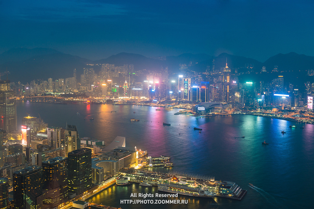 Hong Kong Island And The Bay From Above Panorama