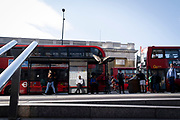 In the week that many more Londoners returned to their office workplaces after the Covid pandemic and the summer holidays, commuters and public transport make their way southwards at the southern end of London Bridge in Southwark, on 8th September 2021, in London, England.