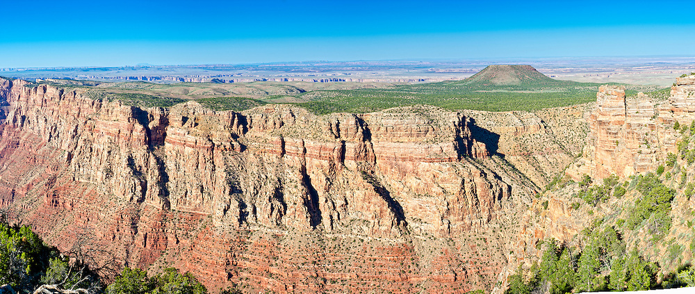 Panoramic view of South Rim in Grand Canyon, National Park. This is a 32 MP image composed of more than 10 individual shots. The Grand Canyon is a steep-sided gorge carved by the Colorado River in the United States in the state of Arizona. This is  one of the first national parks in the United States