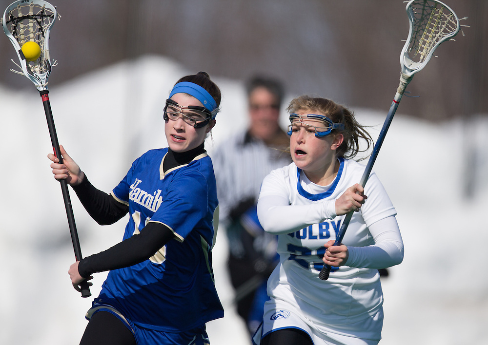 Abby Hooper, of Colby College, in a NCAA Division III lacrosse game against Hamilton College on March 7, 2015 in Waterville, ME. (Dustin Satloff/Colby College Athletics)