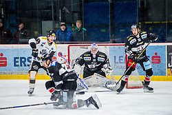 30.11.2018, Ice Rink, Znojmo, CZE, EBEL, HC Orli Znojmo vs Dornbirn Bulldogs, 24. Runde, im Bild v.l. Oliver Magnan (Dorbirn Bulldogs) Patrik Novak (HC Orli Znojmo) Teemu Tapio Lassila (HC Orli Znojmo) Jakub Stehlik (HC Orli Znojmo) // during the Erste Bank Eishockey League 24th round match between HC Orli Znojmo and Dornbirn Bulldogs at the Ice Rink in Znojmo, Czechia on 2018/11/30. EXPA Pictures © 2018, PhotoCredit: EXPA/ Rostislav Pfeffer