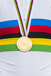 September 18, 2017 - Bergen, NORWAY - 170918  The gold medal of Elena Pirrone on the podium during the medal ceremony after the Women Junior Individual Time Trial on September 18, 2017 in Bergen..Photo: Jon Olav Nesvold / BILDBYRN / kod JE / 160019 (Credit Image: © Jon Olav Nesvold/Bildbyran via ZUMA Wire)