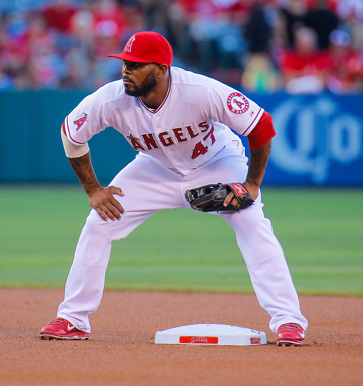 Aug 30 2014 - Anaheim U.S. CA - Angels 2nd base # 47 Howie Kendrick protect 2nd base during MLB game between LA Angels and  Oakland Athletics 2-0 win at Angel Stadium of Anaheim Calif.