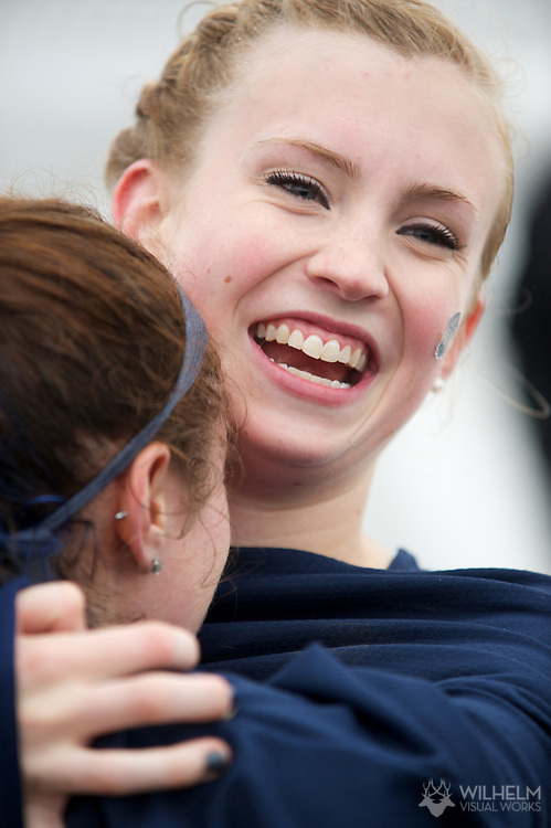 21 NOV 2011: Teammates Annamarie Maag (190) and Emily Infeld (187) of Georgetown University embrace following the Division I Women's Cross Country Championship held at the Wabash Valley Family Sports Center in Terre Haute, IN. Georgetown University won the team national title. © Brett Wilhelm