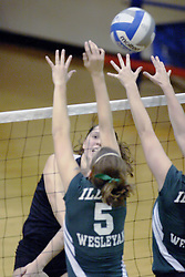 27 October 2006: Ali Crouch strikes the ball past Amy VanDerVoorn. The Bears won the match 3 games to 1. The match between the Washington University Bears and the Illinois Wesleyan Titans took place at Shirk Center on the IWU campus in Bloomington Illinois.<br />