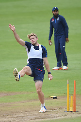 England's David Willey bowls during the nets session at Cardiff Wales Stadium.