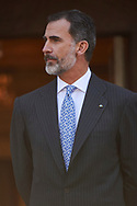 King Felipe VI of Spain attended an official lunch at Palacio de la Zarzuela on November 6, 2017 in Madrid, Spain.