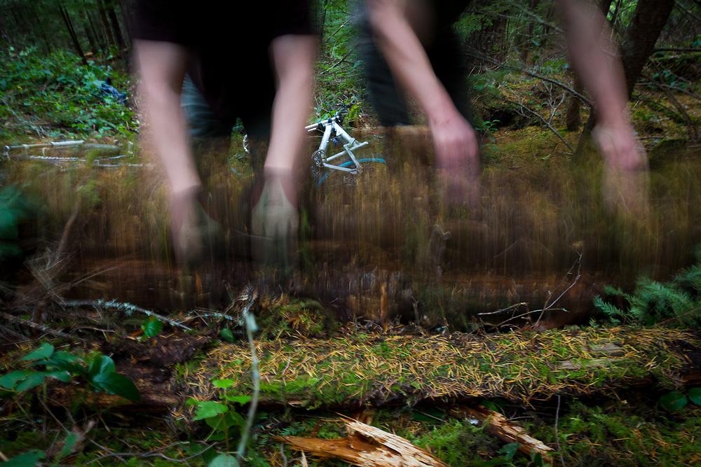 Owen Dudley and Damian Pullar clear the brush for a new mountain bike trail near Bellingham, Washington.