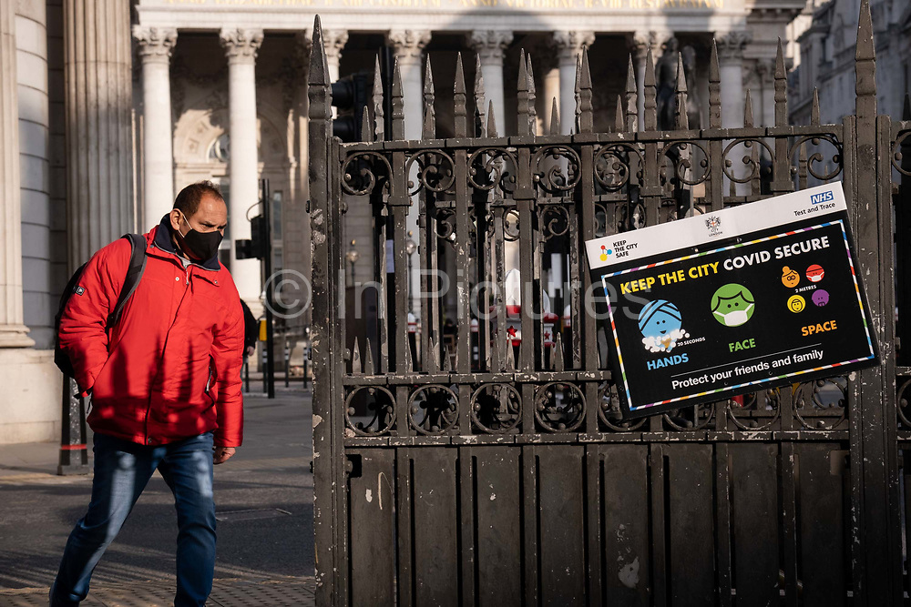 Days before the Chancellor Rishi Sunak delivers his Budget, a government and NHS National Health Service notice urges the public to stay Covid secure during a high infection rate in the capital, during the third English lockdown of the Coronavirus pandemic, 1st March 2021, in London, England.