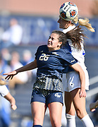George Washington forward Rachel Sorkenn (left) and Courtney Reimer leap for a header. St. Louis University defeated George Washington in the championship game of the Atlantic 10 Conference Women's Soccer Tournament at Robert Hermann Stadium at St. Louis University on Sunday November 10, 2019.<br /> Photon by Tim Vizer