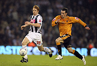 Photo: Rich Eaton.<br /> <br /> West Bromwich Albion v Wolverhampton Wanderers. Coca Cola Championship. Play off Semi Final 2nd Leg. 16/05/2007. West Broms Paul McShane gets to the ball ahead of Michael McIndoe