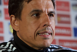 CARDIFF, WALES - Monday, May 23, 2016: Wales' manager Chris Coleman during a press conference to announce a contract extension at the Vale Resort Hotel. (Pic by David Rawcliffe/Propaganda)