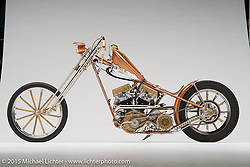 """""""Deal Breaker"""", a handmade copper hued panhead built by Rick Bray of RKB Kustom Speed in Lemoore, CA. Photographed by Michael Lichter during the Easyriders Bike Show in Sacramento, CA on January 7, 2016. ©2016 Michael Lichter."""