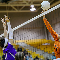 Gallup Bengal Ericka Begay (11) tips the ball over to the Kirtland Central Broncos Thursday at Gallup High School.