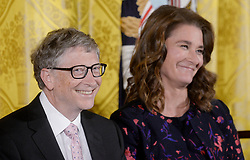 Bill Gates and his wife Melinda announce their divorce. The billionaire co-founder of Microsoft, and his wife, who reside in Washington State, are to divorce after twenty-seven years of marriage, and twenty years of working together in their foundation - File - Bill and Melinda Gates look on during a Presidential Medal of Freedom ceremony honoring 21 recipients, in the East Room of the White House in Washington, DC, USA, November 22, 2016. Photo by Olivier Douliery/ABACAPRESS.COM