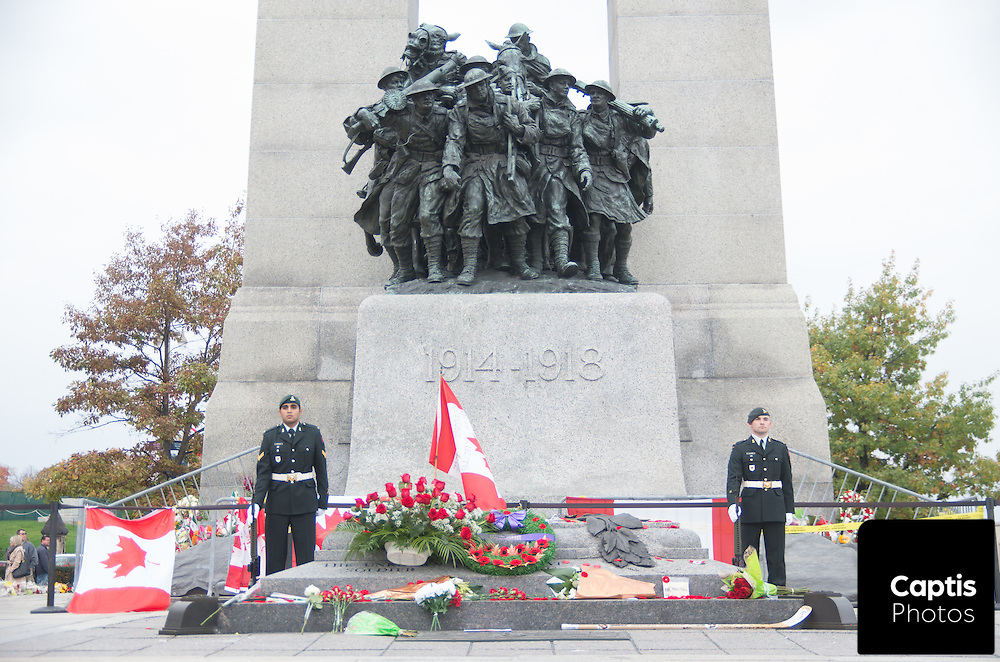 An honour guard watches over the Tomb of the Unknown Soldier. October 25, 2014.