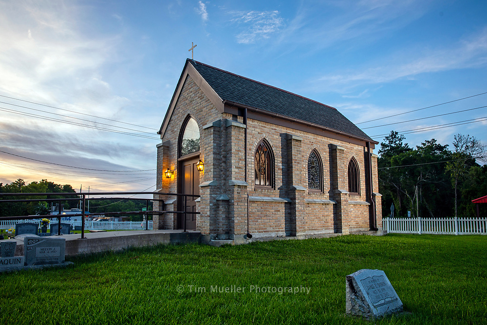 In the center of the St. William Cemetery in Port Vincent, La. sits the St. Vincent Ferrer Chapel. The small gothic structure includes bricks, two pews and stations of the cross from St. William Church which was built in 1956, but torn down in 2012. Three different churches have stood on the site originally donated by Vincent Scivicque, who was an Italian merchant and generally regarded as the founder of Port Vincent.
