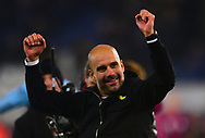Manchester City Manager Pep Guardiola celebrates after their win in a penalty shootout .Carabao Cup quarter final match, Leicester City v Manchester City at the King Power Stadium in Leicester, Leicestershire on Tuesday 19th December 2017.<br /> pic by Bradley Collyer, Andrew Orchard sports photography.