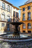 Fontaine Place d'Albertas – located in the courtyard of l'Hotel d'Albertas, this grand fountain was constructed in 1912 by students from the School of Arts and Crafts.  The fountaih has little history to its name, and is rather celebrated for its square of small hotels illustrating the will of the lord to clear the entrance to his hotel and give some unity to the whole. The beauty of the place is given by a remarkable balance of lines.