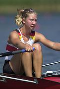 Trakai, LITHUANIA.  GER JW1X Laura TIBITANZL. 2002 Junior World Rowing Championships, on Lake Galva Wednesday  07/08/2002 [Mandatory Credit: Peter Spurrier/ Intersport Images]. 200208 Junior World Rowing Championships, Trakai, LITHUANIA