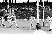 The Kilkenny goalie looks behind as Wexford score a goal during the All Ireland Senior Leinster Hurling Final Kilkenny v Wexford at Croke Park on the 24th of July 1977. Wexford 3-17 Kilkenny 3-14.