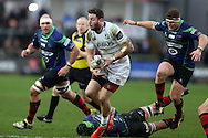 Alex Cuthbert of Cardiff Blues makes a break. Guinness Pro12 rugby match, Newport Gwent Dragons v Cardiff Blues at Rodney Parade in Newport, South Wales  on Sunday 27th December 2015.<br /> pic by  Andrew Orchard, Andrew Orchard sports photography.