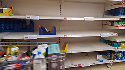 © Licensed to London News Pictures. 12/03/2020. London, UK. Sainsbury's store in London runs out of detergents and washing up liquid amid an increased number of cases of Coronavirus (COVID-19) in the UK. 590 cases have been tested positive and ten patients have died from the virus in the UK. Photo credit: Dinendra Haria/LNP