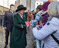 Prince Charles, Prince of Wales looks at a statue of suffragette Alice Hawkins presented to Camilla, Duchess of Cornwall during a visit to the market on February 11, 2020 in Leicester, United Kingdom. on the 11th February 2020 at Leicester Market, Leicester UK photo by Gary Mitchell