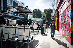 © Licensed to London News Pictures. 24/08/2018. London, UK. Steel drums on the streets of Notting Hill, West London ahead of the 2018 Notting Hill Carnival which starts this weekend. Photo credit: Ben Cawthra/LNP