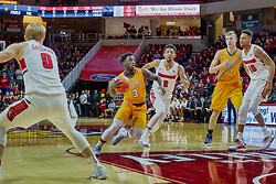 NORMAL, IL - February 05: Daniel Sackey heads into the lane trailed by defender Zach Copeland during a college basketball game between the ISU Redbirds and the Valparaiso Crusaders on February 05 2019 at Redbird Arena in Normal, IL. (Photo by Alan Look)