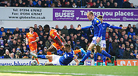 Blackpool's Sullay Kaikai is fouled by Ipswich Town's Luke Chambers to win his side a penalty<br /> <br /> Photographer Chris Vaughan/CameraSport<br /> <br /> The EFL Sky Bet League One - Ipswich Town v Blackpool - Saturday 23rd November 2019 - Portman Road - Ipswich<br /> <br /> World Copyright © 2019 CameraSport. All rights reserved. 43 Linden Ave. Countesthorpe. Leicester. England. LE8 5PG - Tel: +44 (0) 116 277 4147 - admin@camerasport.com - www.camerasport.com