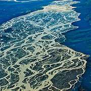 North America, United States, US, Northwest, Pacific Northwest, West, Alaska, Wrangell, Wrangell-St. Elias, Wrangell-St. Elias National Park, Wrangell-St. Elias NP. Braided rivers of the Granite Range in Wrangell-St. Elias National Park, Alaska.