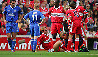 Fotball<br /> Premier League England 2004/2005<br /> Foto: SBI/Digitalsport<br /> NORWAY ONLY<br /> <br /> 25.09.2004<br /> <br /> Middlesbrough v Chelsea<br /> <br /> Middlesbrough's Ray Parlour is clearly in pain