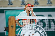 Sofia KENIN (USA) sheds tears while interview of Marion Bartoli after winned the match during the Roland Garros 2020, Grand Slam tennis tournament, on October 5, 2020 at Roland Garros stadium in Paris, France - Photo Stephane Allaman / ProSportsImages / DPPI