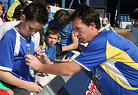 Photo: Rich Eaton.<br /> <br /> Cardiff City Press Conference. Coca Cola Championship. 24/07/2007. Robbie Fowler pictured signing shirts for fans at Ninian Park, where he was announced as a new signing by Cardiff City.