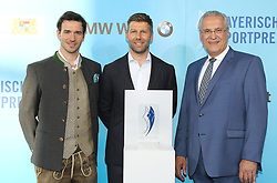 13.07.2019, BMW Welt, Muenchen, GER, Bayerischer Sportpreis Verleihung, im Bild Felix Neureuther, Thomas Hitzelsberger und Joachim Herrmann // during the Bavarian Sports Award at the BMW Welt in Muenchen, Germany on 2019/07/13. EXPA Pictures © 2019, PhotoCredit: EXPA/ SM<br /> <br /> *****ATTENTION - OUT of GER*****