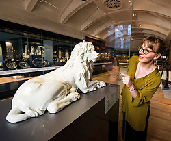 Pictured: Assitant curator European Decorative Arts, Dr Rachel King admires the ceramic Meissen Lion from c 1732-35<br /> <br /> The National Museum of Scotland will launch ten new galleries on 8 July following a £14.1 million redevelopment in their 150th year.  <br /> <br /> Ger Harley   EEm 5 July 2016