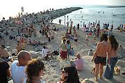 Israel, Tel Aviv, Drum Beach at dusk May 2006