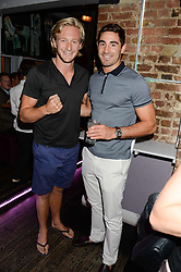 Left to right, OWAIN WALBYOFF and unbeaten British super-middleweight professional boxer FRANK BOGLIONI at the Weigh In Party for the upcoming Boodles Boxing Ball held at Bunga Bunga, Battersea Bridge Road, London on 5th September 2013.