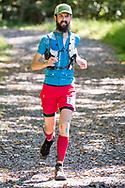 Rosendale, New York  - A runner in the 30-mile race nears the finish line  of fhe Shawangunk Ridge Trail Run/Hike on Sept. 16, 2017.