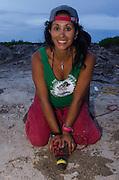 American Crocodile Research (Crocodylus acutus)<br /> Marissa Tellez retraining crocodile<br /> San Perdo <br /> Ambergris Caye<br /> Belize,<br /> Central America