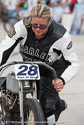Shelly Rossmeyer wins her heat on her 1915 Harley-<br /> Davidson Model J racer at Billy Lane's Sons of Speed vintage motorcycle racing during Biketoberfest. Daytona Beach, FL, USA. Saturday October 21, 2017. Photography ©2017 Michael Lichter.