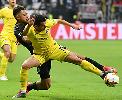 FRANKFURT May 3, 2019  Pedro Rodriguez (Front) of Chelsea vies with Simon Falette of Frankfurt during the UEFA Europa League semifinal first leg match between Eintracht Frankfurt and Chelsea FC in Frankfurt, Germany, on May 2, 2019. The match ended in a 1-1 draw. (Credit Image: © Ulrich Hufnagel/Xinhua via ZUMA Wire)