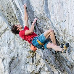 Adam Ondra climbing Fight Club at Raven's Crag in Banff, Alberta, Canada