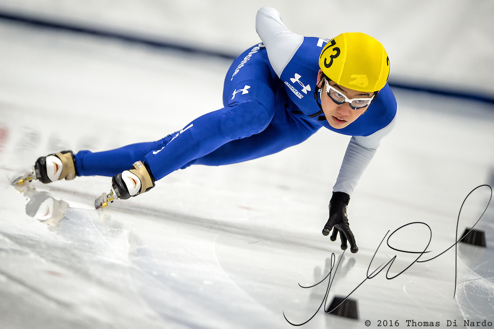 March 19, 2016 - Verona, WI - Thomas Insuk Hong, skater number 273 competes in US Speedskating Short Track Age Group Nationals and AmCup Final held at the Verona Ice Arena.